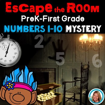 Escape Room Math Mystery Numbers 1-10 PRE- Kindergarten to 1st Grade Activity