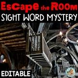 Escape Room ELA Mystery Sight Word Kindergarten | 1st Grade | Editable