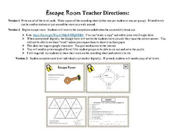 Escape Room - Polynomial Review by Shannon Andrews | TpT