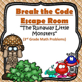 Escape Room (The Little Monsters)-3rd Grade Math Computation & Word Problems