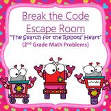 Escape Room (Valentine's Robots)-2nd Grade Math Computation & Word Problems