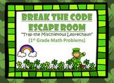 Escape Room (Trap the Leprechaun)-1st Grade Math Computation & Word Problems