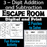 Escape Room: Triple Digit Addition and Subtraction With and Without Regrouping