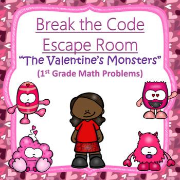 Escape Room (Valentine's Monsters)-1st Grade Math Computation & Word Problems