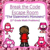 Escape Room (Valentine's Monsters)-1st Grade Math Computation & Word Problems
