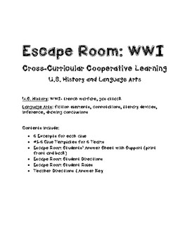 Escape Room: WWI & Fiction Review