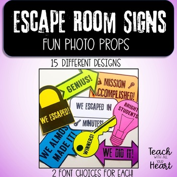 photo regarding Escape Room Signs Printable identified as Escape Place Indicators Worksheets Instruction Components TpT