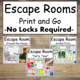 Escape Rooms Print and Go for Home - No Materials Required