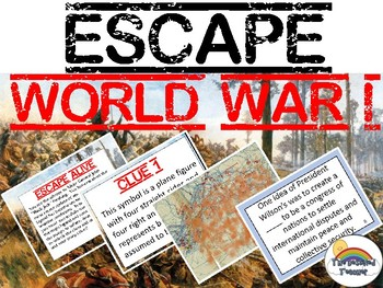 Escape World War 1 (WWI) Review Task Card Game Activity