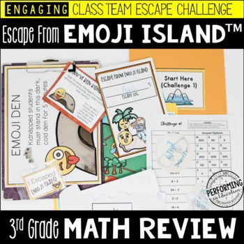 Escape from Emoji Island™ 3rd Grade Math Escape Room Great End of Year Review!
