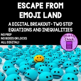 Escape from Emoji Land Digital Escape Breakout Two-Step Equations Inequalities