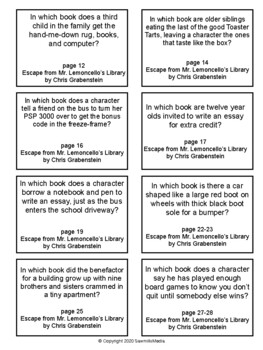 Escape from Mr. Lemoncello's Library - Over 100  EBOB Questions