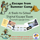 Escape from Summer Camp Back-to-School Digital Escape Room