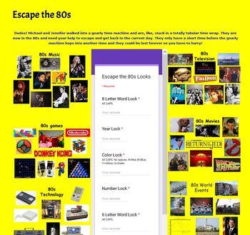 Escape the 80s Expressions Digital Breakout