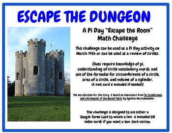 Pi Day Escape the Room Circle Challenge- Sir Cumference: Circumference & Area