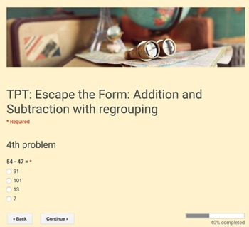Escape the Form: Addition and Subtraction with Regrouping