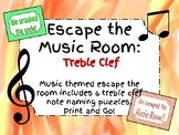 Escape the Music Room!! 6 Treble Clef Music Puzzles to Esc