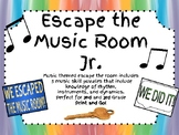 Escape the Music Room Jr.!!! 5 Musical Puzzles for 2nd and 3rd grades