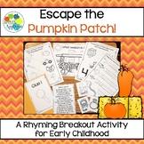 Escape Room: Pumpkin Patch! Rhyming Breakout Activity