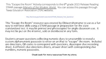 STAAR Reading Escape the Room Activity
