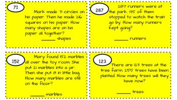 Escape the Room: Double and triple digit addition and subtraction word problems