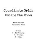 Escape the Room - Four Quadrant Coordinate Grids