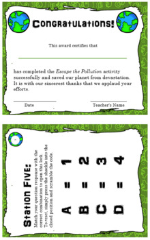Escape the Room - Pollution - Science Ecosystem