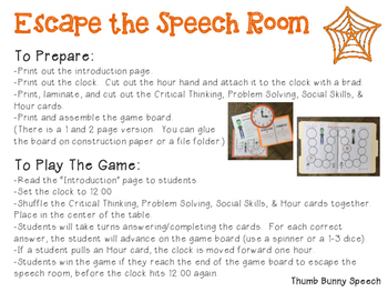 Escape the Speech Room: Halloween - Critical Thinking, Problem Solving & Social