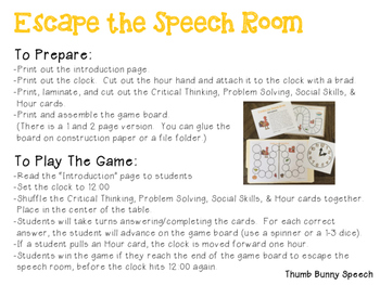 Escape the Speech Room: Thanksgiving - Critical Thinking, Problem Solving