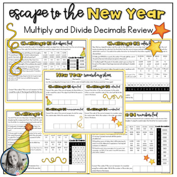 Escape to the New Year multiply and divide decimals problem solving