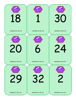 Escaped on the Playground Fractions of amounts game cards