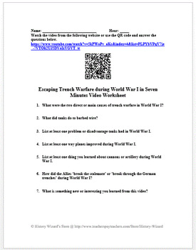 Escaping Trench Warfare during World War I in Seven Minutes Video Worksheet