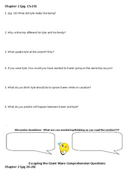 Escaping the Giant Wave Comprehension Questions