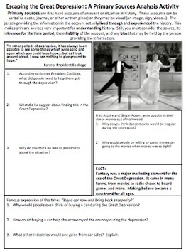Escaping the Great Depression Primary Source Analysis Handout US History