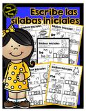 Escribe las sílabas iniciales / Write the Beginning Syllable