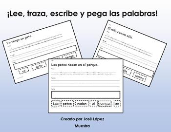 Escribe, traza, y forma oraciones muestra