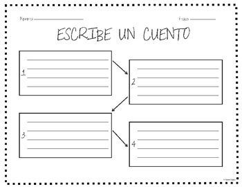 """""""Escribe un Cuento"""" (""""Write a Story"""") Template / Graphic Organizer – Spanish"""