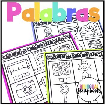 Escribe y aprende (Labeling activities in Spanish)