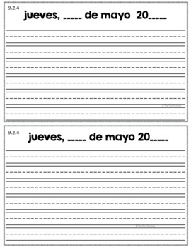 Kindergarten Writing NO PREP Escribiendo Diariamente en Kinder May Spanish