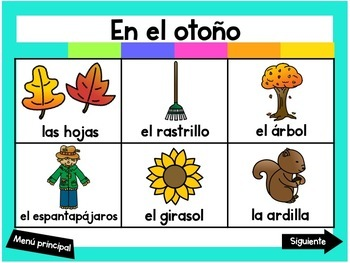 Escribiendo en Octubre (Digital Vocabulary and Journal Prompts for October)