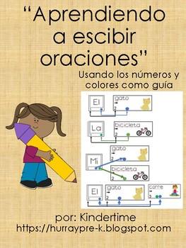 Escribiendo oraciones sencillas siguiendo un código por número y color