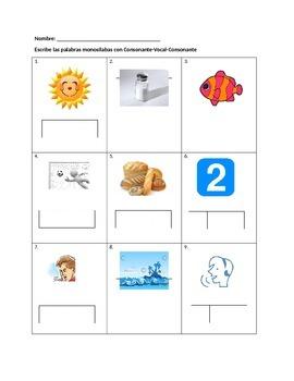 Escribiendo palabras monosilabas de consonante vocal consonante