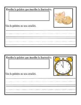 Escribiendo palabras y oraciones para describir una ilustración