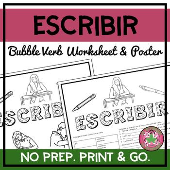 Escribir Bubble Verb Worksheet/Poster