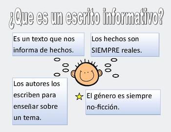 Escrito Informativo - bundle informative writing in Spanish