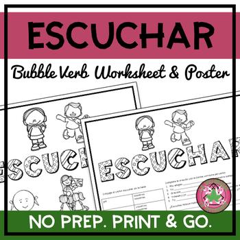 Escuchar Bubble Verb Worksheet/Poster
