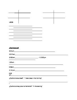 Escuela - Guia de estudia (con la hora y ser / estar) SCHOOL study guide (time)