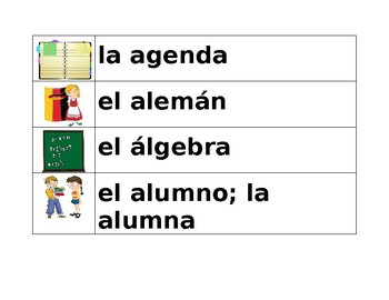 Escuela (School in Spanish) Word wall