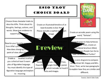 Esio Trot Choice Board Novel Study Activities Menu Book Project with Rubric