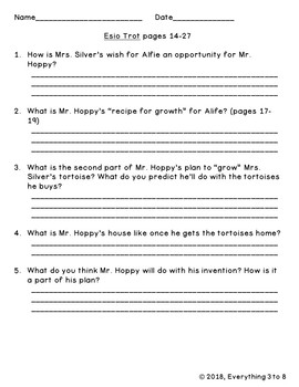 Esio Trot Guided Reading Questions Level S--FREEBIE!